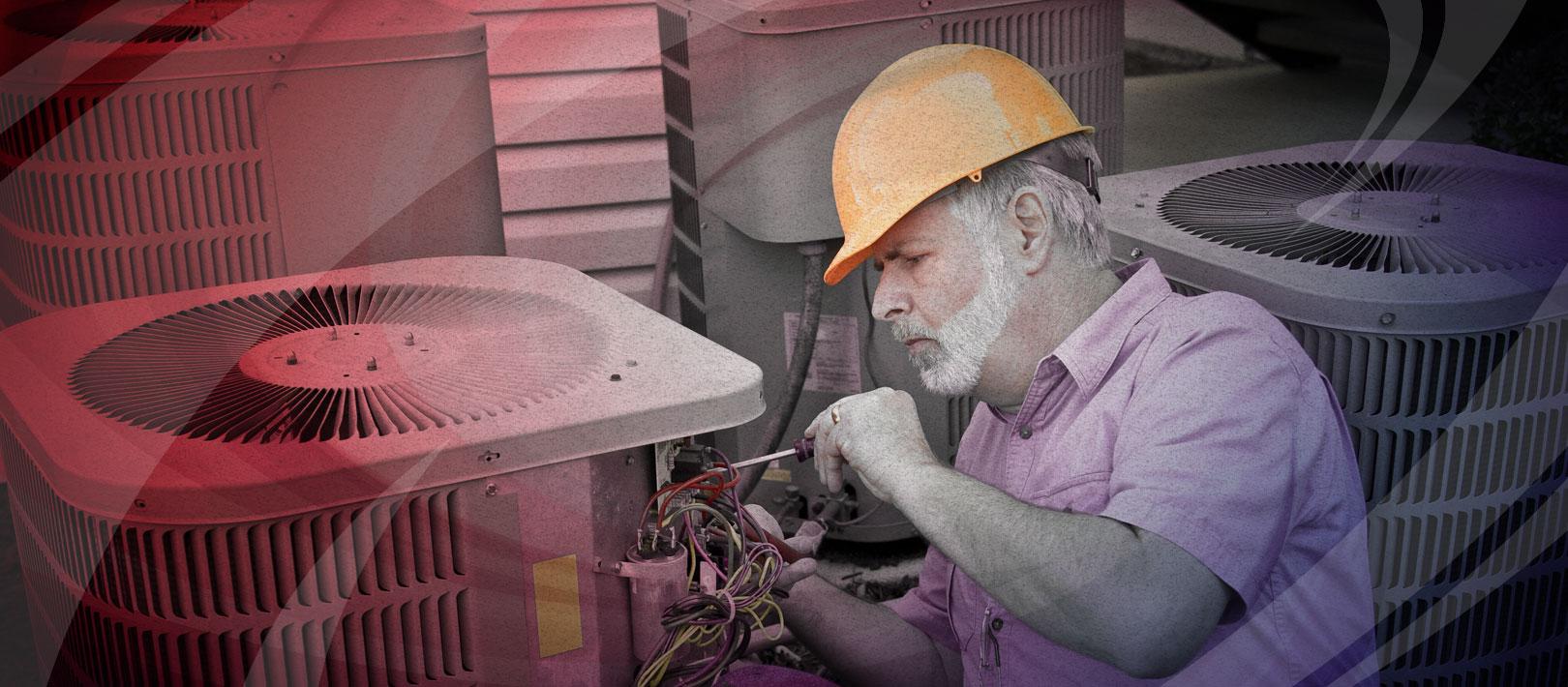 HVAC tech repairing AC unit in Edmond, OK